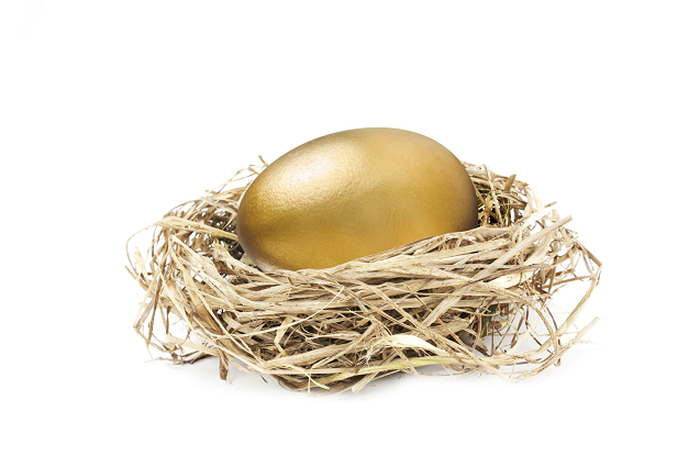 A golden egg sitting in a nest.