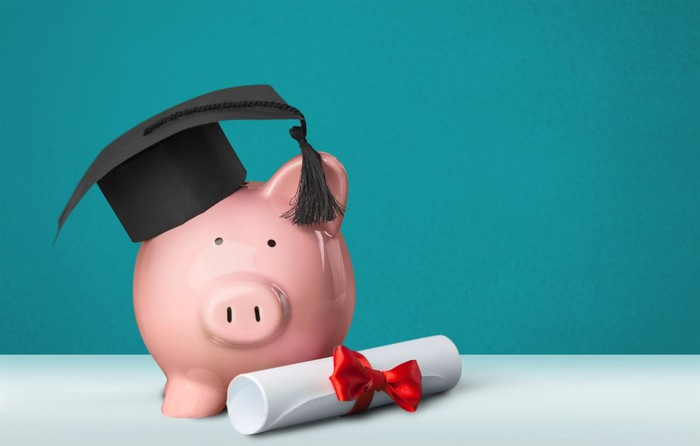 Piggy bank with mortarboard hat on its head and diploma next to it