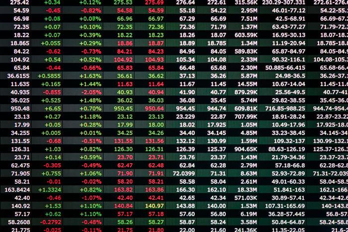 An electronic stock ticker board.