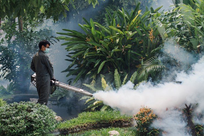 A man in a mask uses a fogger machine to spray for mosquitos.