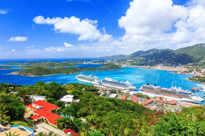 Cruise ships lined up at port of St. Thomas