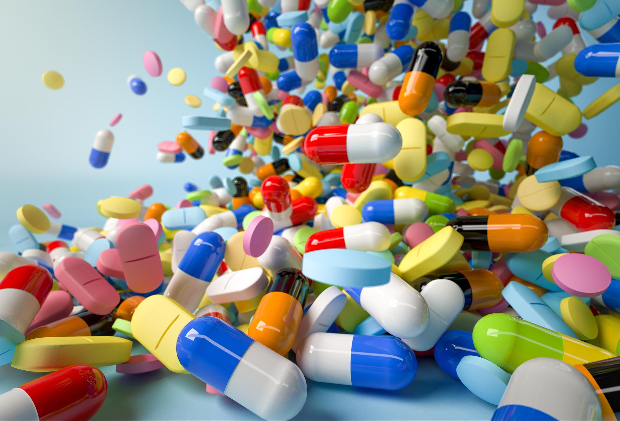 Falling prescription drugs pills and capsules