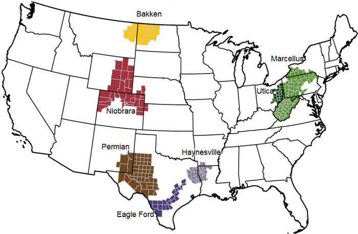 A map showing some of the largest shale plays in the U.S.