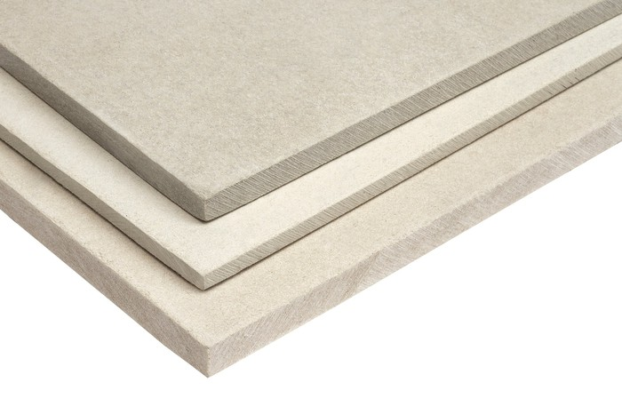 A stack of gypsum wallboard.