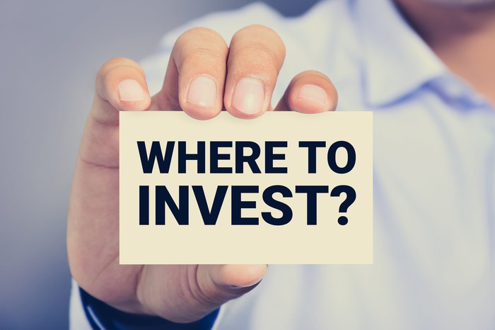 """Hand holding card that says, """"Where to invest?"""""""
