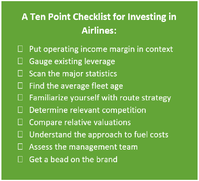 A 10-point checklist for investing in airlines