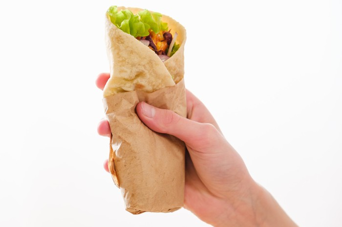 A hand holding a burrito
