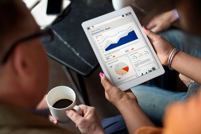 One person holding coffee and looking at a tablet being held by another person. There are charts on the tablet screen.