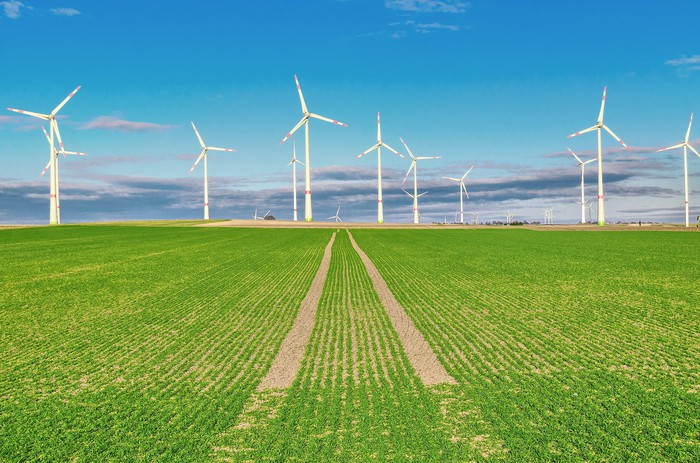 A field of crops with wind turbines in the background