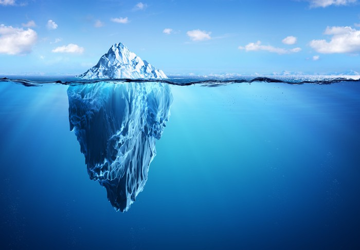 The tip of an iceberg shows above the surface of the water, while a much bigger portion of it lies beneath the surface.