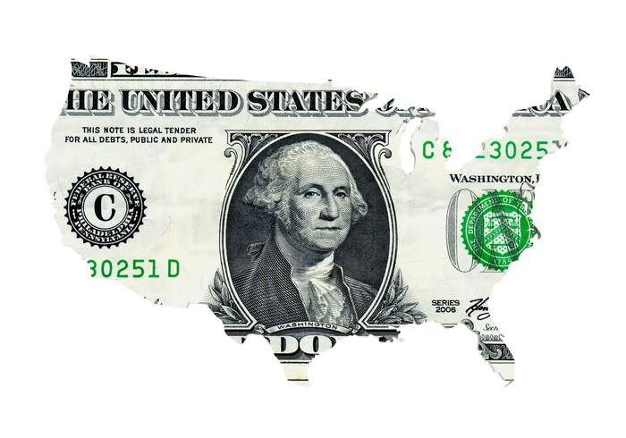 A U.S. dollar shaped like the continental United States.