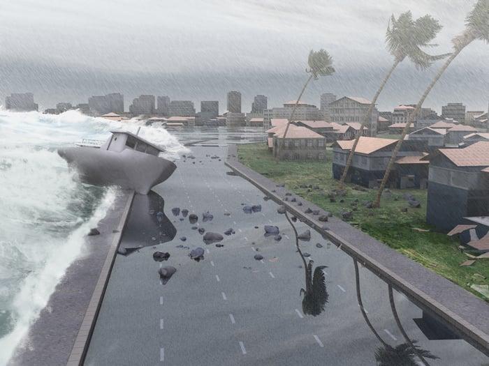 A hurricane whipping a shoreline.