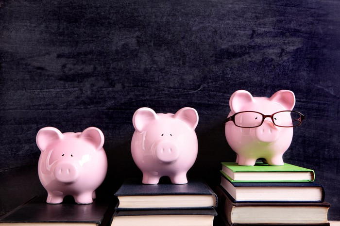 Three piggy banks appear in a row, with two on elevated stacks of books.