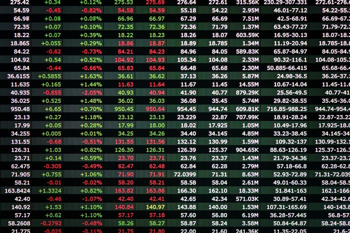 A stock ticker board displays gains and losses.