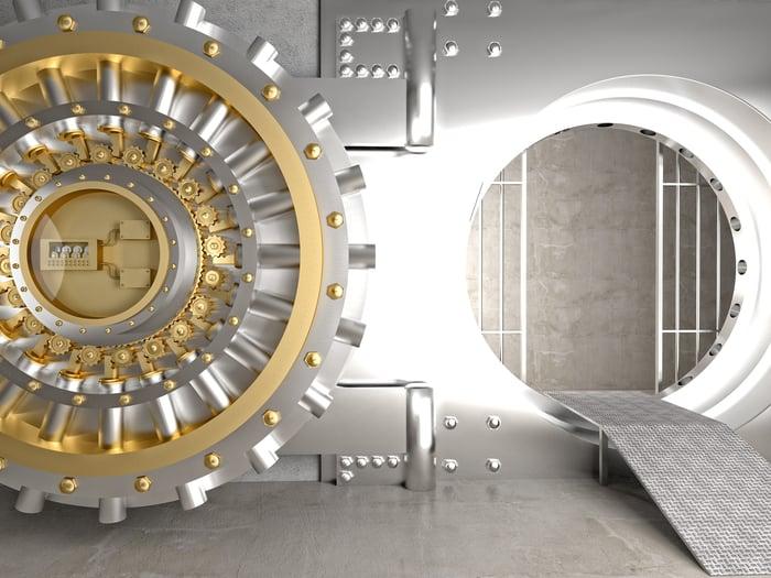 Bank vault with door open