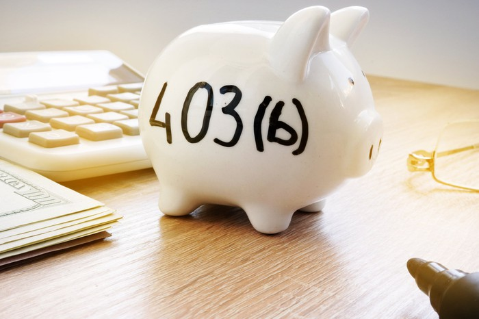"""A piggy bank labelled """"403(b)"""" sits on a desk near a stack of currency and a calculator."""