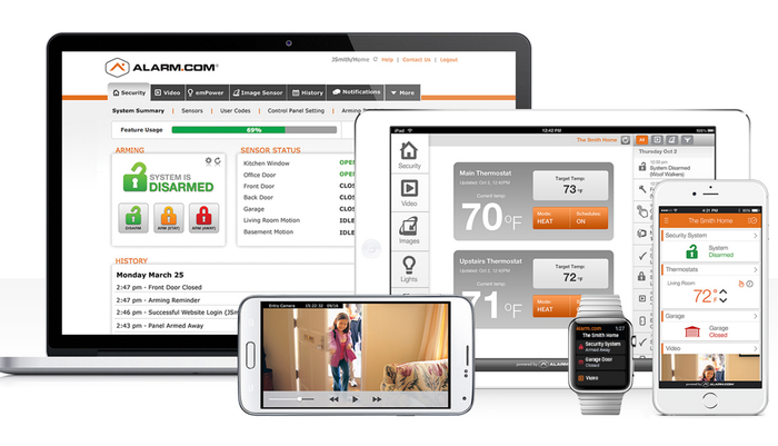 An image showing how Alarm.com's services can be used by consumers to protect their home.