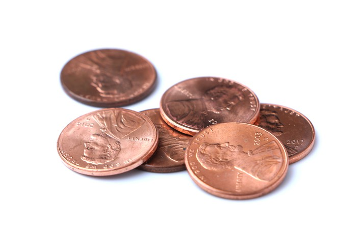 Six American pennies.