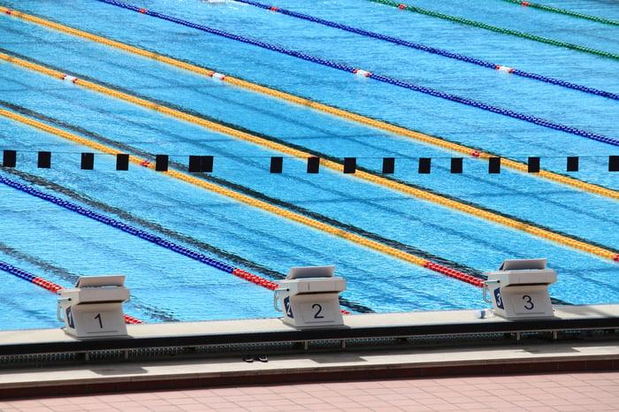 Three starting blocks at a swimming pool
