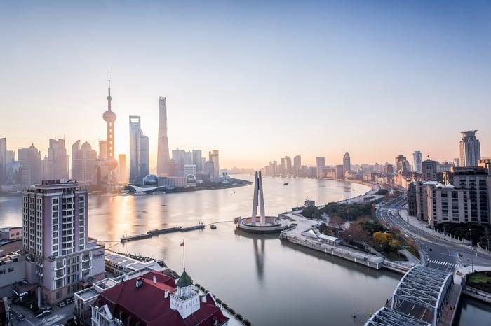 Shanghai, China at sunrise
