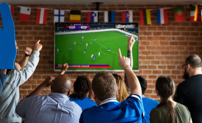 Soccer fans watch a game on TV.