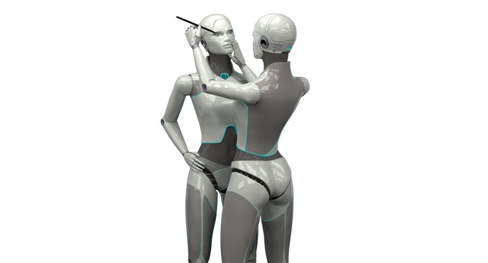 One android applies makeup on another android's face.