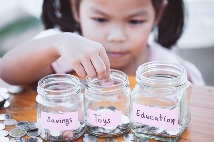 "A child practices budgeting by putting coins in jars labelled ""savings,"" ""toys,"" and ""education."""