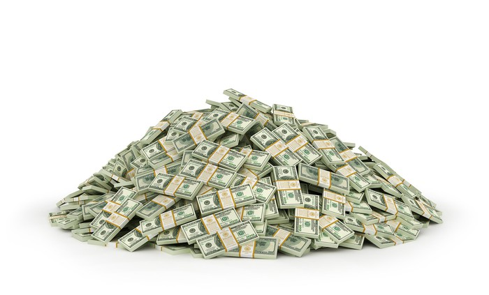 A large pile of bundled banknotes.