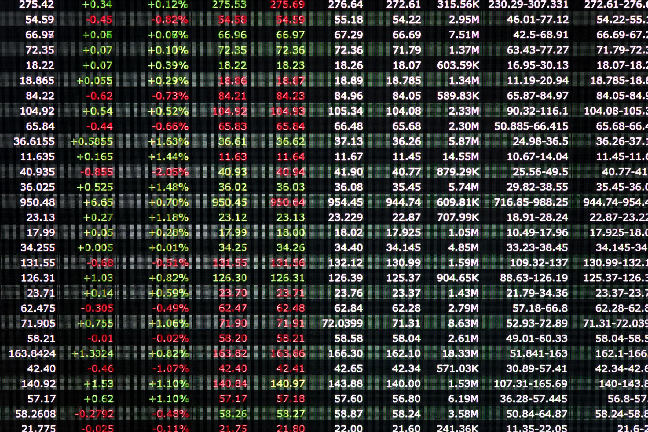 A stock ticker board.