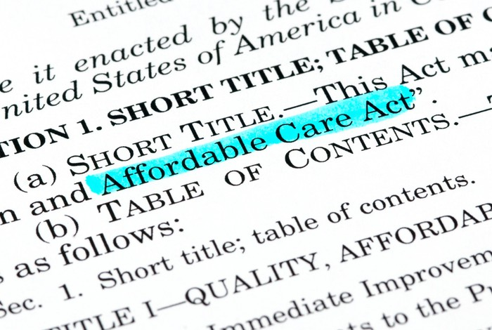 The words Affordable Care Act highlighted within the text of the document