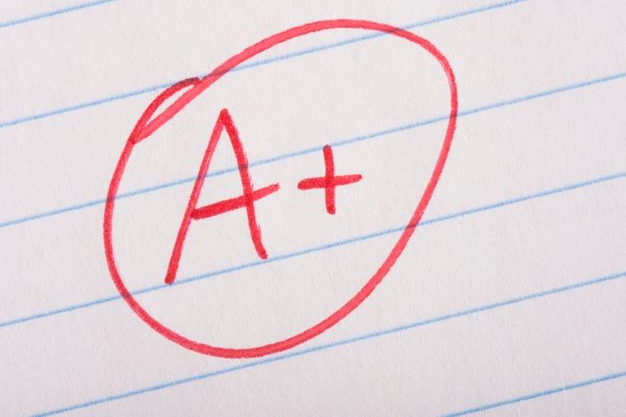 An A+ grade
