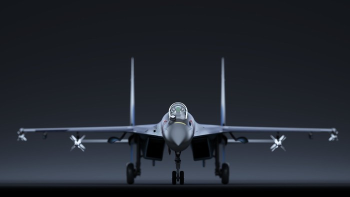 Head-on view of a sleek fighter jet on the runway