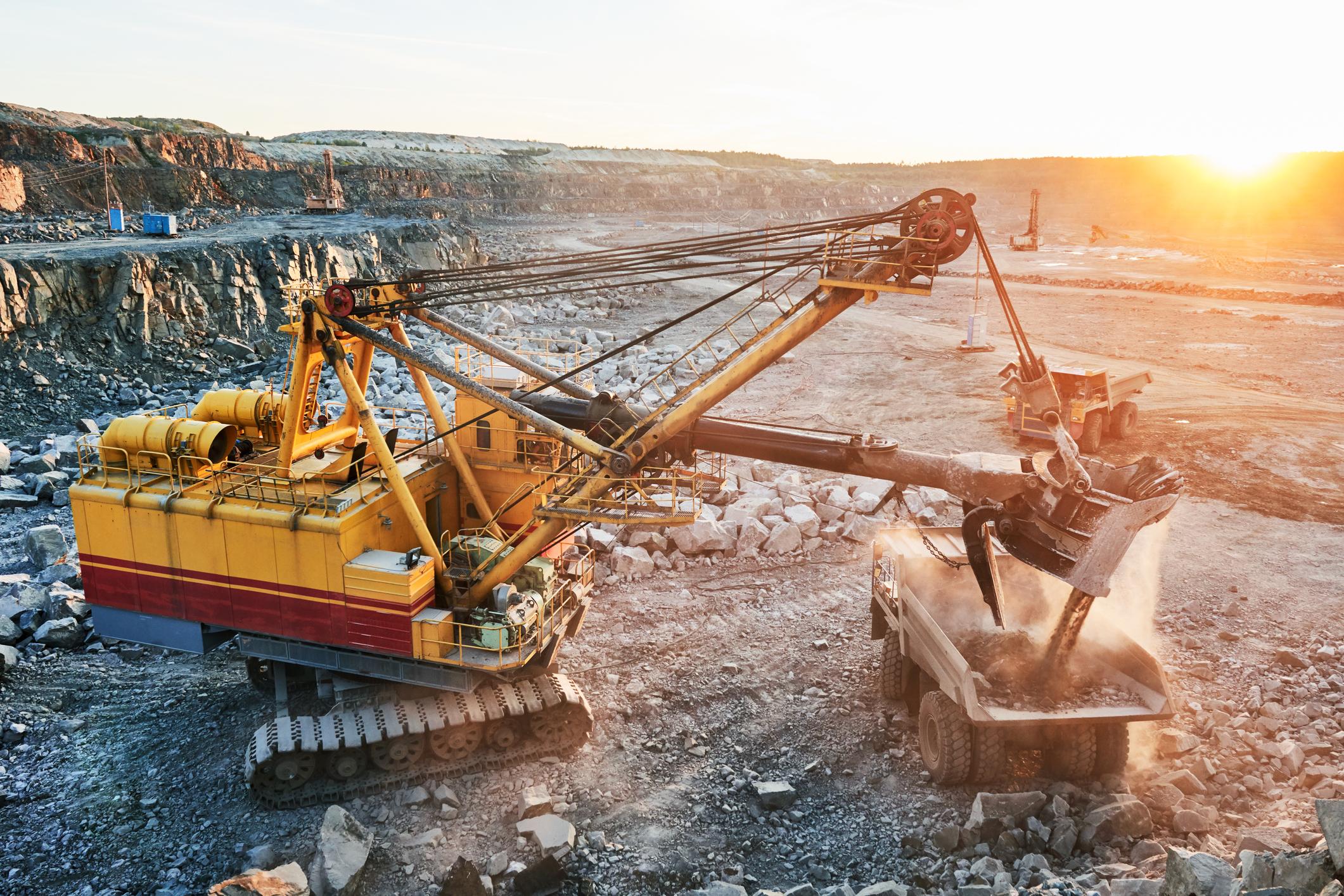 Heavy equipment in a uranium mine.