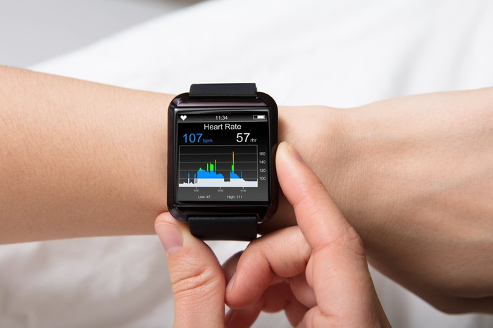 A square smartwatch on a user's wrist.