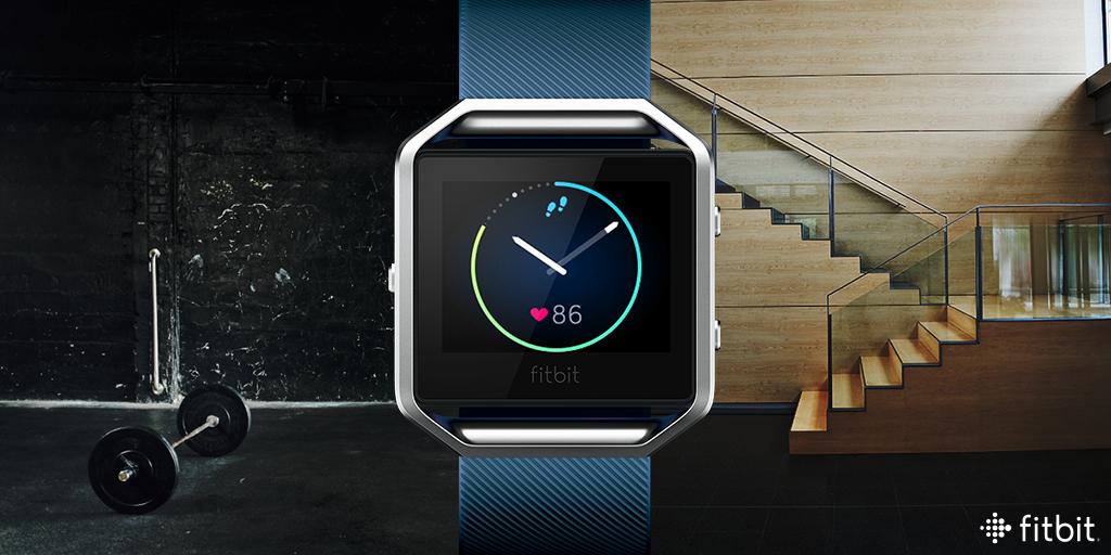 A Fitbit smartwatch.