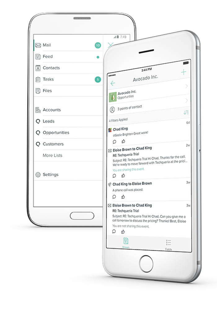 Smartphones showing the salesforce interface