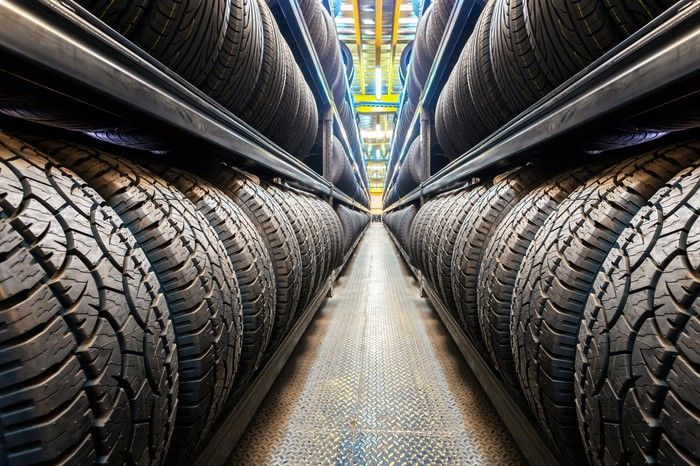 Rows of tires in a warehouse