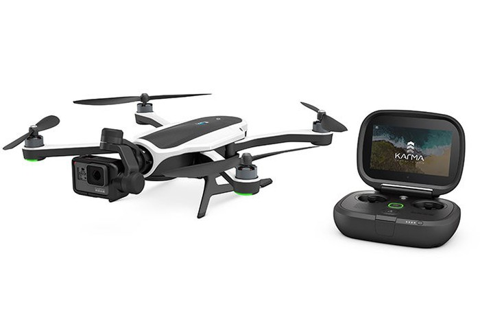 The Karma drone, with four helicopter blades and a GoPro camera in the middle for aerial shots.