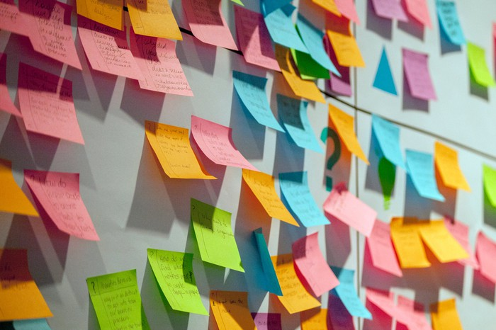 A wall covered in dozens of post it notes.