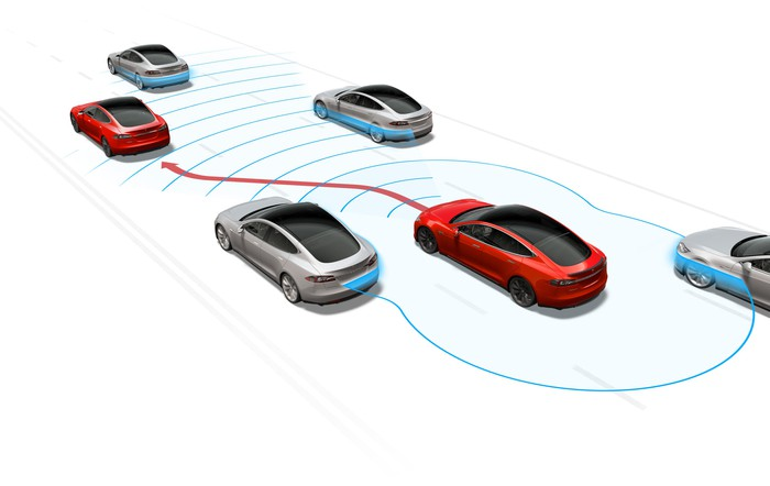 Sketch of several self-driving cars.
