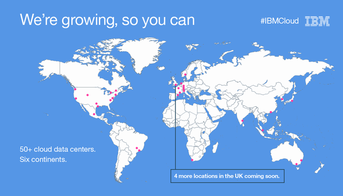 A world map of new IBM data centers