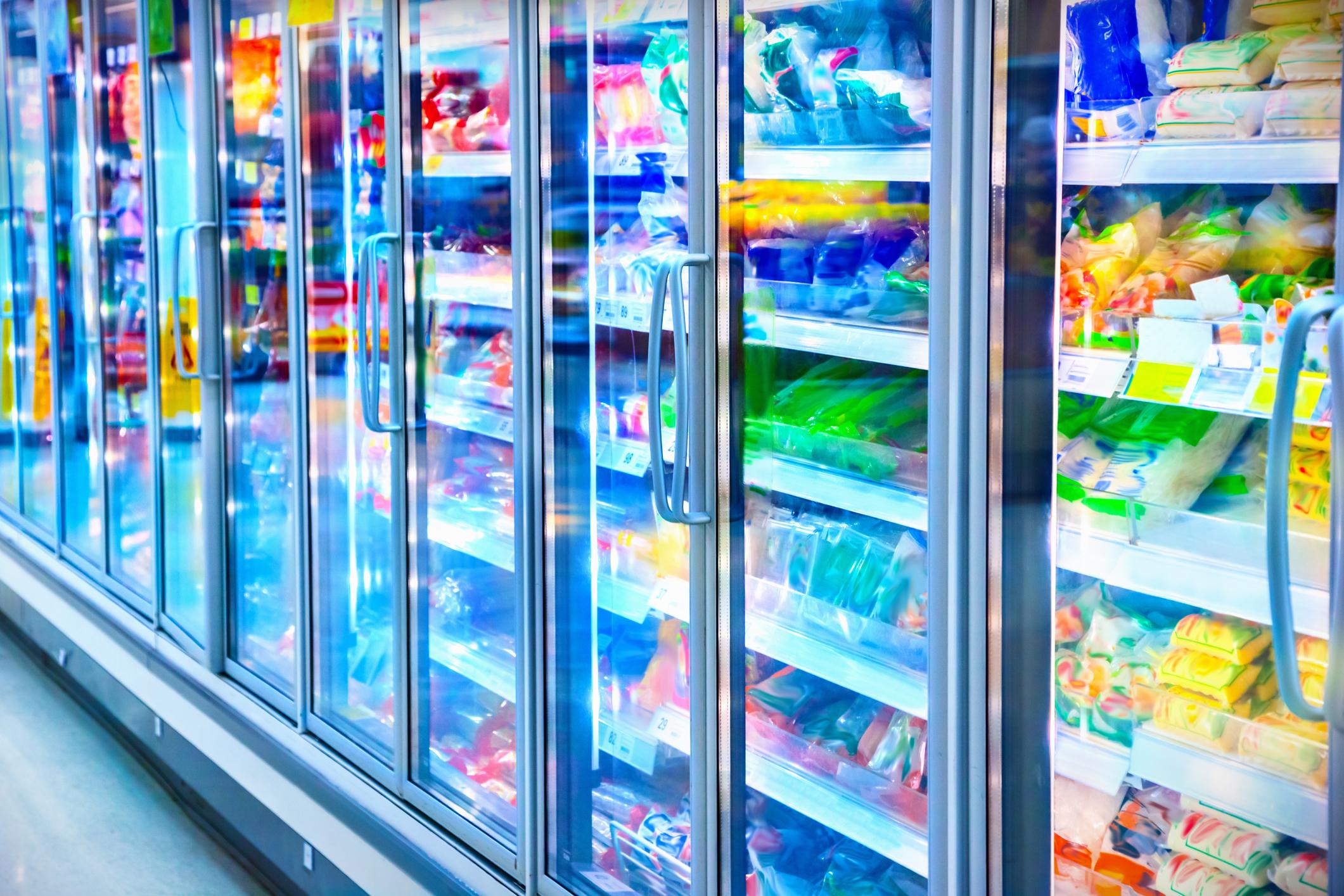 Frozen food aisle of a supermarket