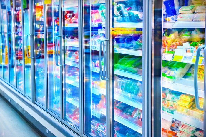 Frozen food aisle of a supermarket