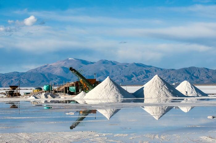 Heavy equipment mining lithium.