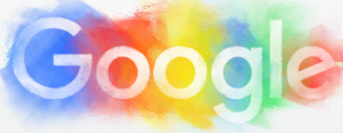 The Google trademark against a rainbow background.