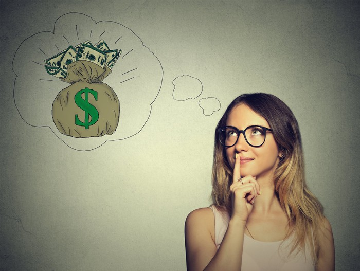 A woman with a thought bubble depicting a bag of cash.