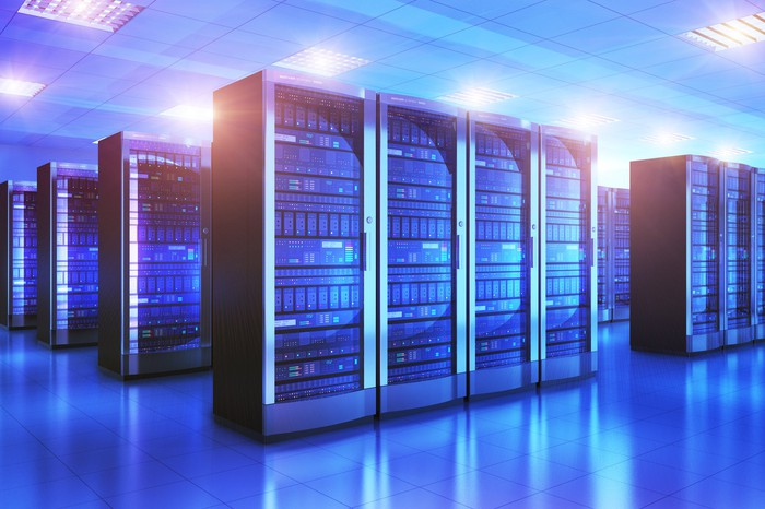 Data center computer banks for powering cloud computing.