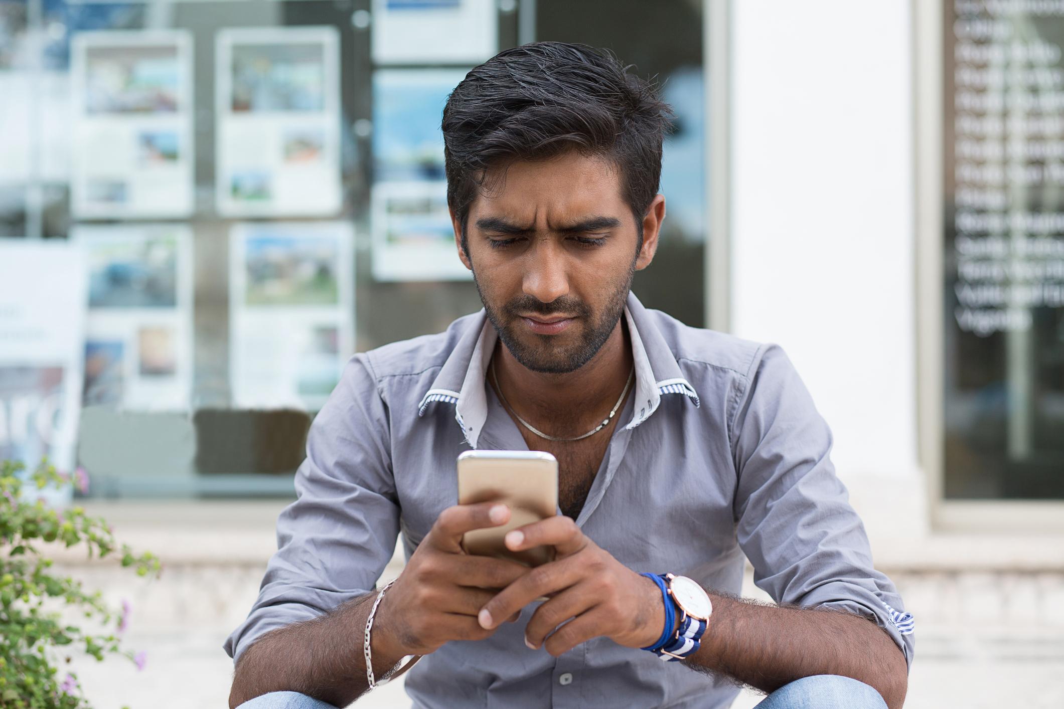 Man an looking at phone