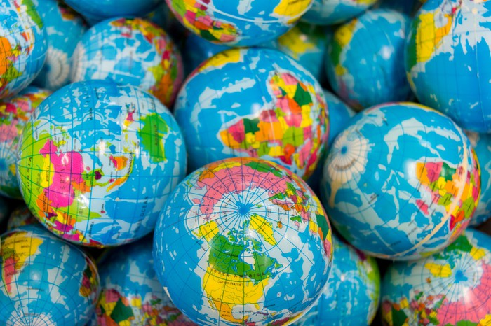 A pile of colorful globes