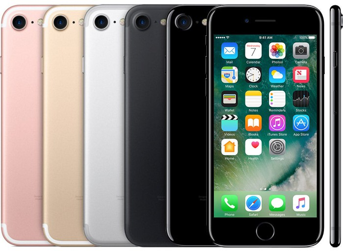 The Apple iPhone 7 in five different colors
